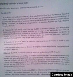 Proyecto resolución sobre Cuba