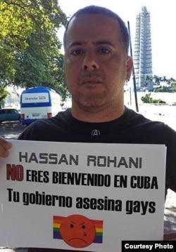 Activistas LGBT protestan contra la visita de presidente iraní a Cuba.