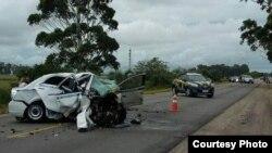 Tres emigrantes cubanos que se dirigían a Uruguay desde Brasil perecieron en este accidente del tránsito.