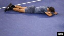 El tenista español Rafael Nadal tras vencer a Novak Djokovic.