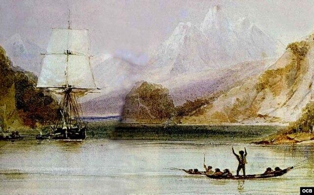 """El """"Beagle"""" en Tierra del Fuego. """"Nieva mariposas"""", gritaron los marineros."""