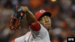 El lanzador Aroldis Chapman de los Rojos de Cincinnati. Foto de archivo.