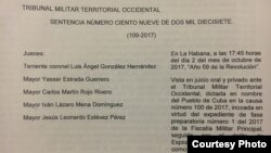 Sentencia del Tribunal Militar Territorial Occidental