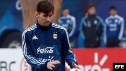 Messi durante el entrenamiento.