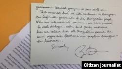La carta manuscrita de Obama que publica el representante Joe García en su Twitter.