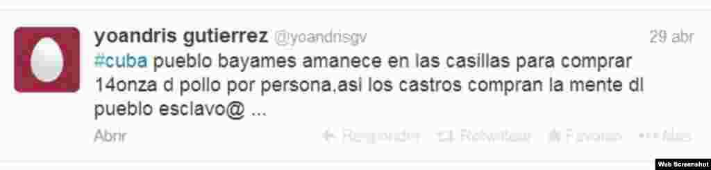 En Bayamo el opositor Yoandri Gutierres publica situaciones relacionadas con el acontecer en su localidad.