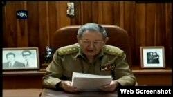 Raúl Castro durante su alocución del 17 de diciembre, 2014.
