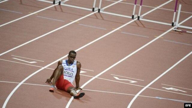 Dayron Robles, en Londres-2012, donde una lesión lo obligó a abandonar la final de los 110 m con vallas.