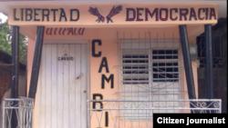 Fachada de la casa de opositores, en Palma Soriano. Foto: Geordanis Muñoz.