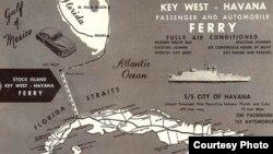 Cartel de promoción del viaje en ferry a La Habana desde Stock Island, Cayo Hueso, en los años 50.