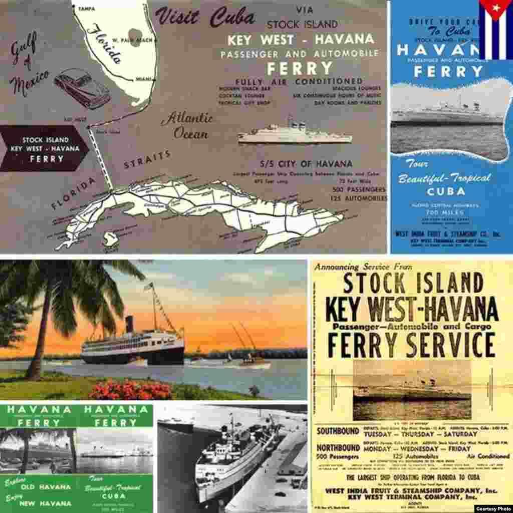Carteles de promoción del viaje en ferry a La Habana desde Stock Island, Cayo Hueso.