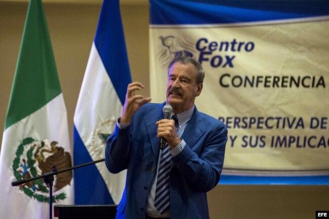 """Expresidente mexicano Vicente Fox tilda de """"dictador"""" y """"mesiánico"""" a Maduro durante una conferencia sobre las perspectiva de un nuevo enfoque del Tratado de Libre Comercio de América del Norte (TLCAN o NAFTA) y sus implicaciones para Centroamérica el 15"""