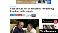 """Editorial del Washington Post: """"Cuba no debe ser premiada por negar libertad a su pueblo""""."""