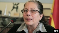 Ofelia Acevedo, viuda de Oswaldo Payá, durante la rueda de prensa ofrecida en la Fundación Hispano Cubana en Madrid.