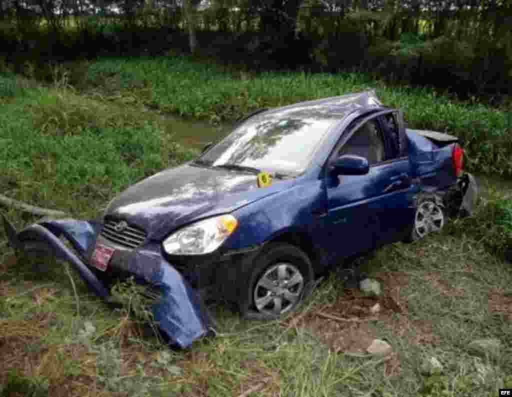 El vehículo donde viajaba el fallecido opositor Oswaldo Payá, conducido por el español Ángel Carromero.
