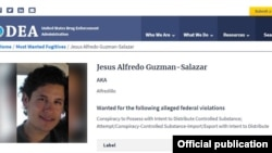 """La ficha de Jesús Alfredo Guzmán, alias """"Alfredillo"""" en la DEA."""