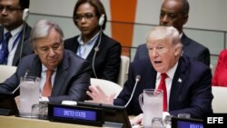 El presidente estadounidense, Donald J. Trump (d), y el secretario general de ONU, António Guterres (i).