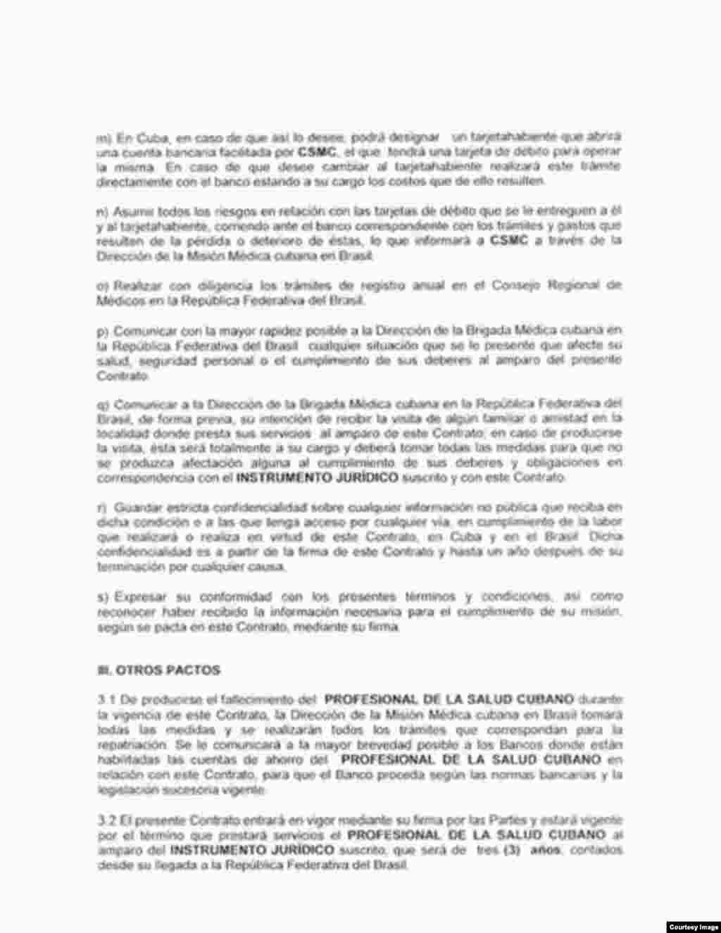 Copia de contrato de médica cubana en Brasil, cuarta página.