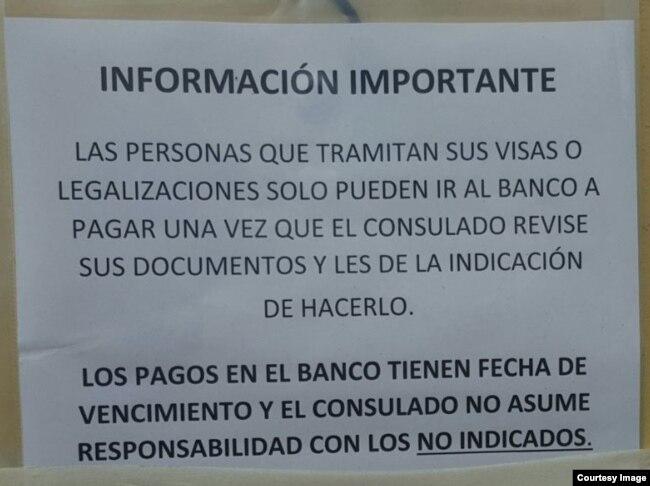 Información a cubanos divulgada por el Consulado General de Colombia.