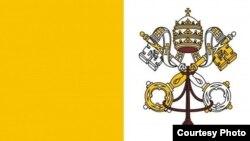 Bandera de El Vaticano con escudo.