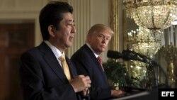 Presidente Donald Trump y primer ministro japonés, Shinzo Abe
