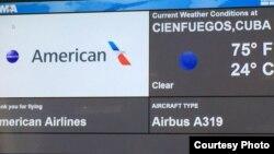 Primer vuelo regular de American Airlines a Cuba llega al aeropuerto de Cienfuegos