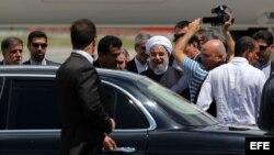 El presidente de Irán, Hassan Rohani arriba al aeropuerto José Martí, en La Habana.