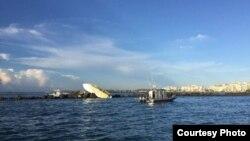 Escena del mortal accidente de bote en el que murieron José Fernández, Emilio J. Macías y Eduardo Rivero (Foto: Departamento de Bomberos Miami-Dade).