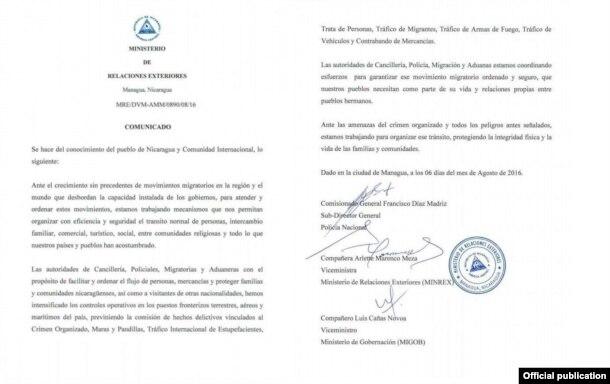Facsímil del comunicado de la cancillería nicaragüense sobre esfuerzos para permitir tránsito migratorio ordenado.