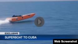 Lancha que intentará cruzar el Estrecho de la Florida en una hora.