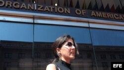 Rosa María Payá, hija del disidente cubano Oswaldo Payá, en la sede la Comisión Interamericana de Derechos Humanos (CIDH) en Washington, DC (EEUU).