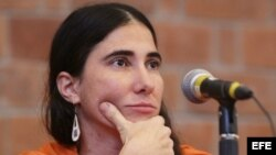 Yoani Sánchez durante una ponencia impartida en la Universidad Iberoamericana, en Ciudad de México (México).