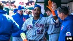 El jardinero izquierdo de los Mets de Nueva York Yoenis Cespedes.