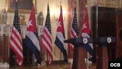 Conferencia de prensa de cancilleres de Cuba y EEUU