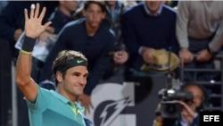 Federer celebra su triunfo.