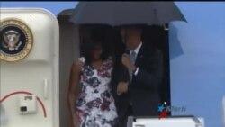 Recibimiento a Obama en el Aeropuerto José Martí